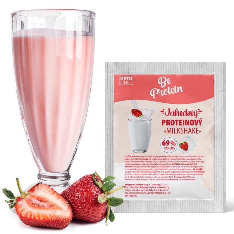 proteinový milkshake jahodový